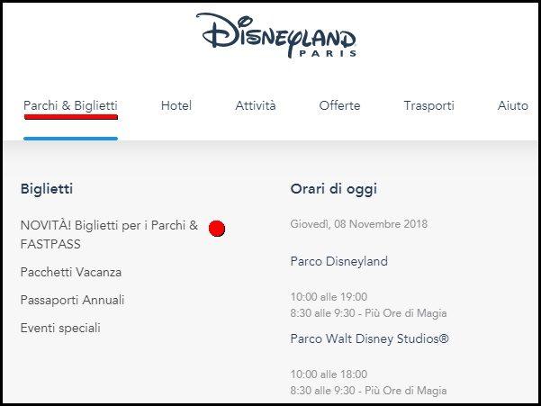 Come raggiungere la biglietteria online del sito ufficiale in italiano di Disneyland Paris