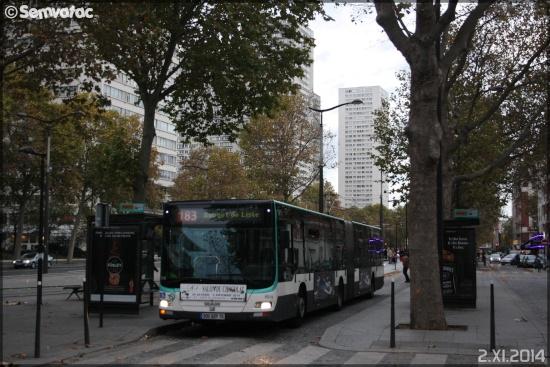 Il capolinea del bus 183 a Parigi nel 2014