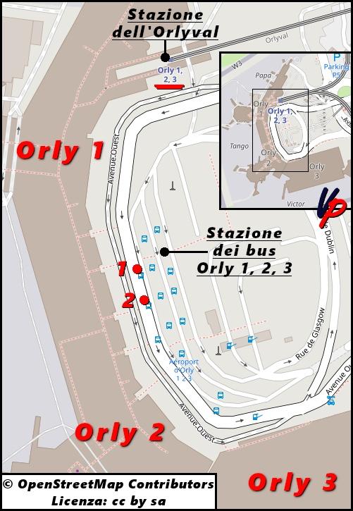 Le fermate delle due linee Bus Direct presso la stazione dei bus Orly 1, 2, 3