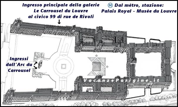 Gli ingressi della galerie Le Carrousel du Louvre