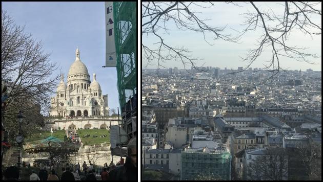 La basilica del Sacro Cuore vista da rue de Steinkerque e il panorama di Parigi dall'alto della basilica