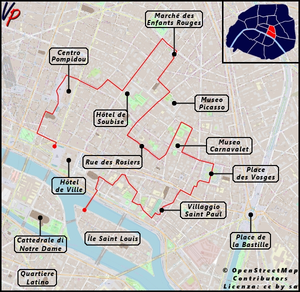 L'itinerario che seguiremo per visitare il Marais con l'indicazione delle principali attrazioni