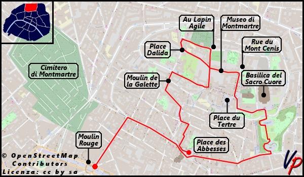 L'itinerario che seguiremo per visitare Montmartre con l'indicazione delle principali attrazioni