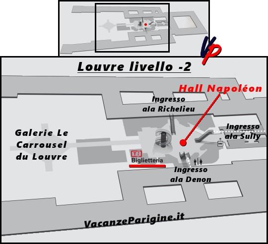 La Hall Napoléon e la biglietteria del Louvre