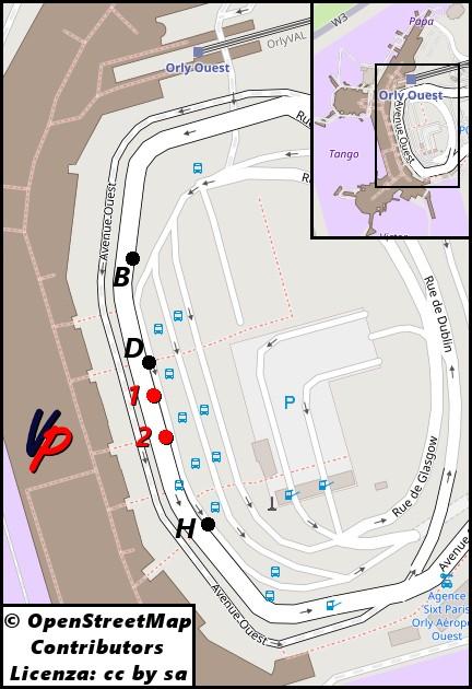 Fermate dei Bus Direct al terminal Ovest dell'aeroporto di Orly