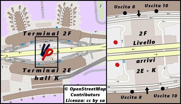 Stazione dei bus fra i terminal 2E e 2F