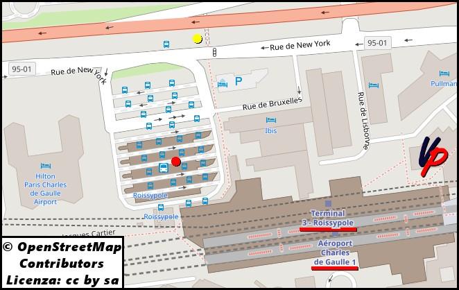 Centro Roissypôle: capolinea (punto rosso) all'aeroporto Charles de Gaulle dei bus N140 ed N143