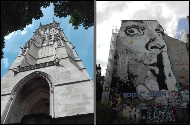 """La tour Saint Jacques e il murale """"Chuuuttt"""""""