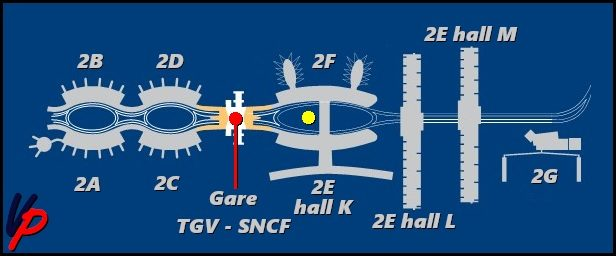 I moduli del terminal 2 con l'indicazione delle posizioni della stazione ferroviaria (gare SNCF – TGV) e della stazione dei bus (punto giallo) al suo servizio