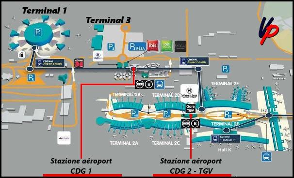 Mappa delle stazioni ferroviarie nello CDG
