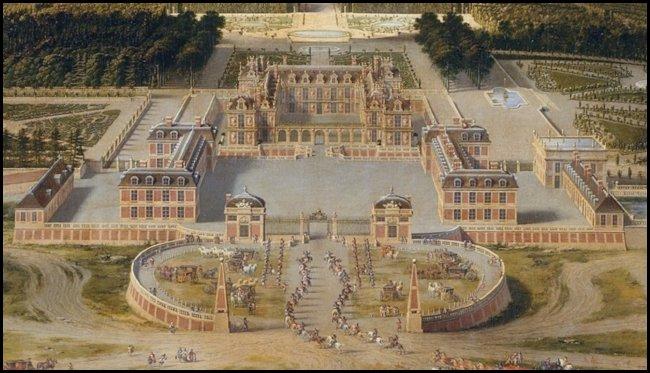 Lo château, al termine della prima campagna di ampliamento, in un dipinto di Pierre Patel del 1668
