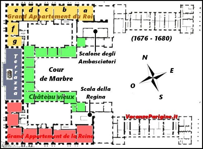 L'aspetto del primo piano dello château prima della costruzione della Galleria degli Specchi