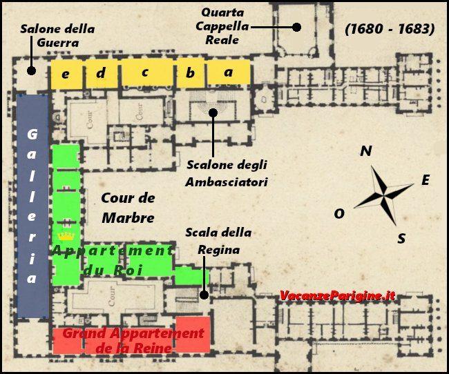 L'aspetto del primo piano dello château dopo la costruzione della Galleria degli Specchi