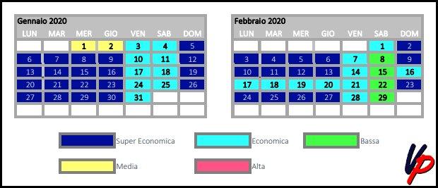Stralcio del calendario tariffario con l'indicazione delle relative stagioni