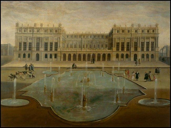 La terrazza dell'enveloppe vista dai giardini della reggia (autore anonimo, 1675)