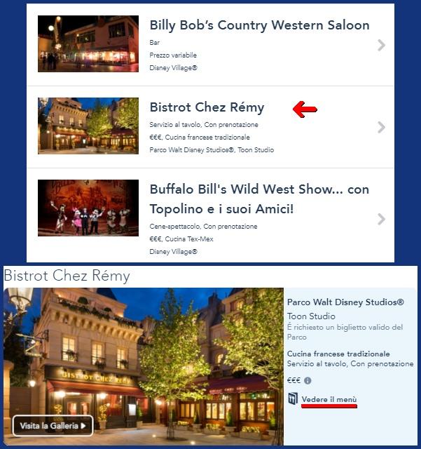 Come trovare i menù dei ristoranti di Disneyland Paris?