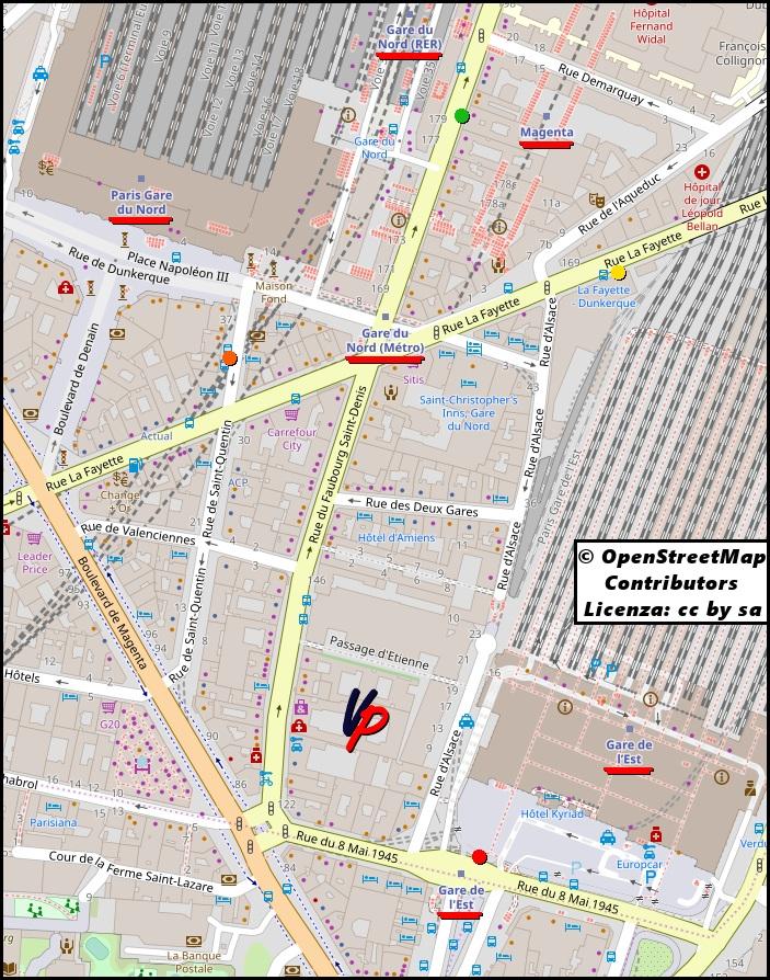 Gare de l'Est: il capolinea di entrambi i bus (punto rosso). Gare du Nord: fermate dei bus N140 (punto giallo) ed N143 (punto verde)