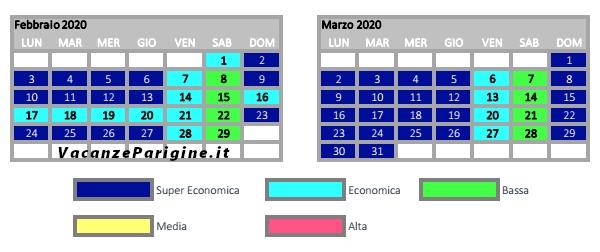 Stralcio del calendario tariffario 2019 / 2020