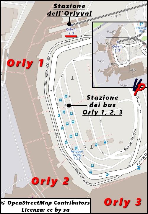 La stazione Orly 1, 2, 3 accoglie l'Orlybus solo in fase di arrivo all'aeroporto