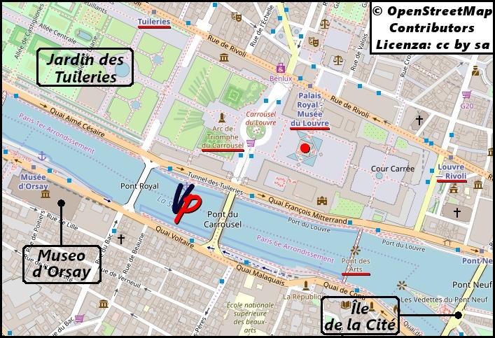 I dintorni del Louvre con l'indicazione delle stazioni della metropolitana più vicine