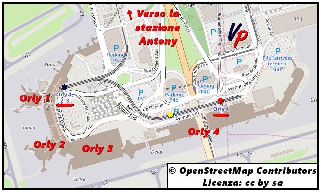 La posizione delle fermate dell'Orlyval all'aeroporto: Orly 4 in partenza (punto rosso) e in arrivo (giallo); Orly 1 – 2 – 3 (punto blu)