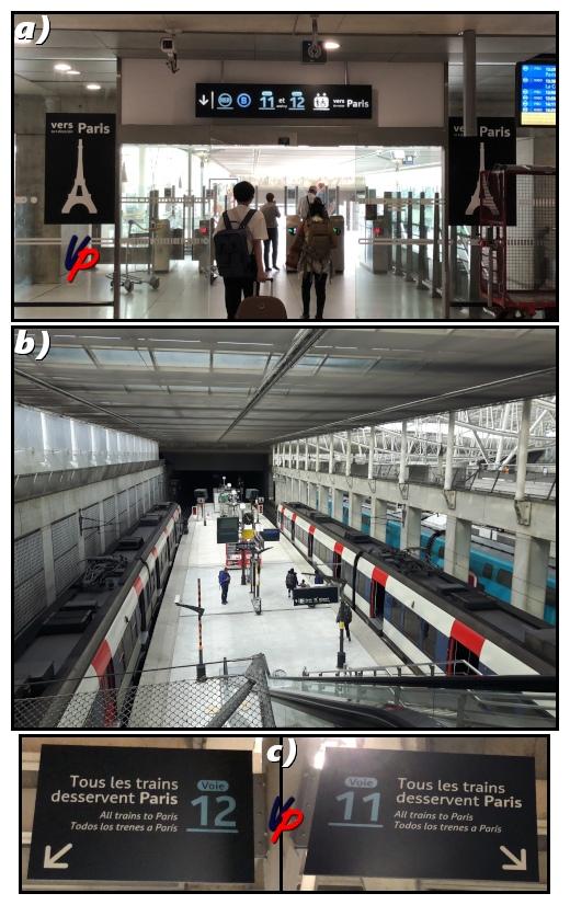 """Foto a): siamo al livello 2, poco prima di superare i tornelli di accesso ai binari del RER BFoto b): la banchina d'attesa dei treni RER B al livello 1Foto c): """"Tuti i treni i treni (RER B) servono Parigi"""""""