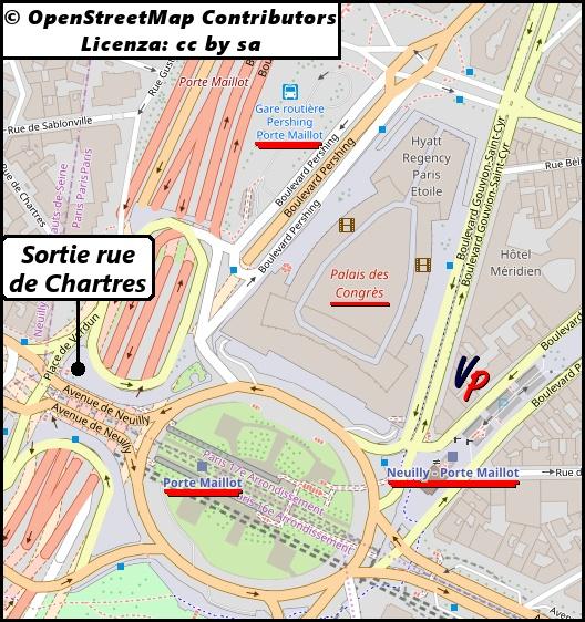 Mappa dei dintorni di Porte Maillot