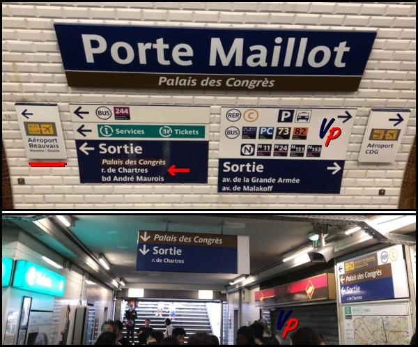 """(In alto) Tutte le uscite della stazione della metropolitana di Porte Maillot. (In basso) L'uscita """"rue de Chartres"""", la più vicina alla stazione dei bus"""
