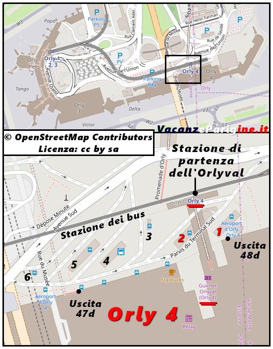 I capolinea delle linee Bus Direct all'interno della stazione dei bus al servizio del settore Orly 4