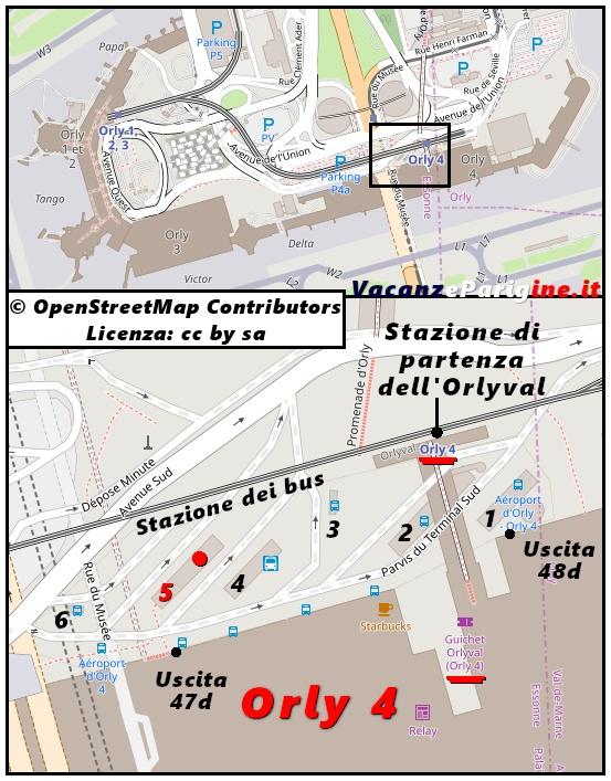 Il capolinea dell'Orlybus si trova presso lo stallo di sosta numero 5