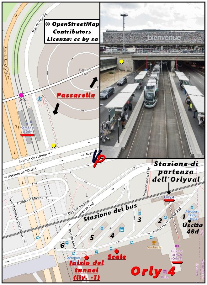 Mappa dei dintorni della fermata del tram nei pressi del settore Orly 4