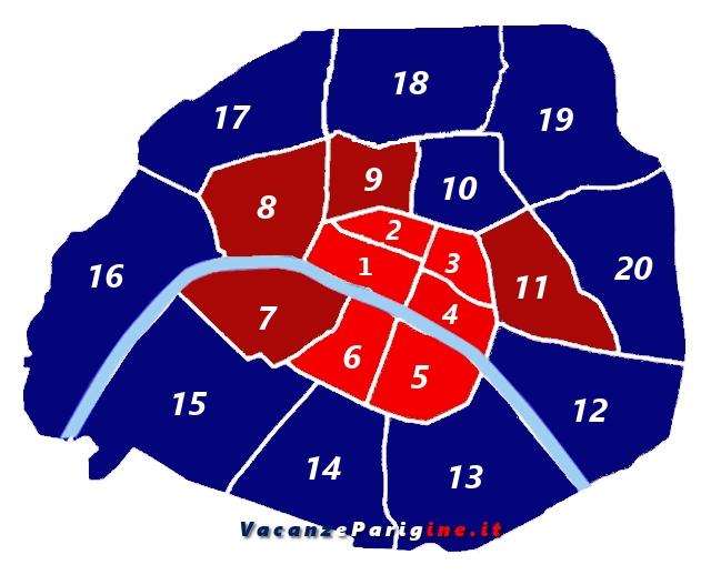 La suddivisione amministrativa della città di Parigi in arrondissement