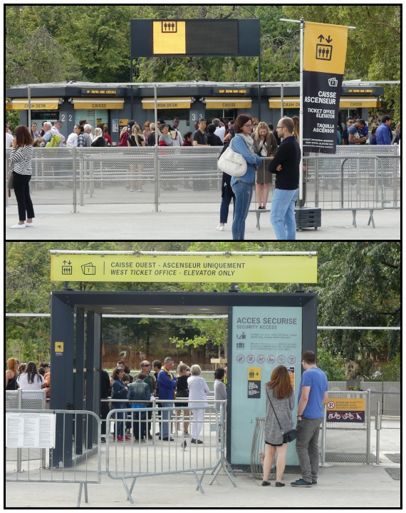 La fila per acquistare il biglietto per l'ascensore presso il pilastro Ovest