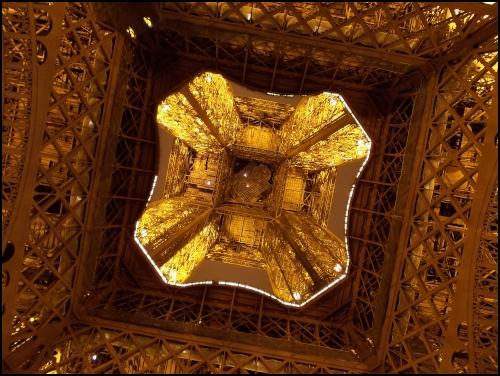 Il centro della torre Eiffel visto dal disotto