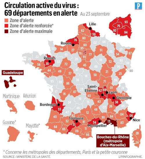 Mappa della Francia con la suddivisione dei dipartimenti a rischio